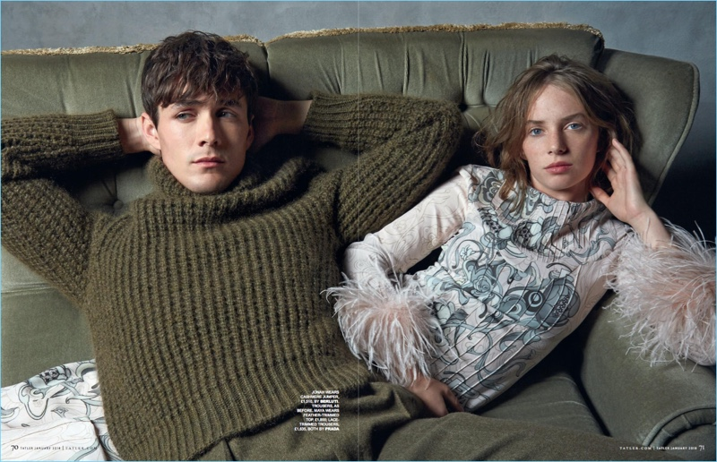Relaxing, Jonah Hauer-King and Maya Hawke star in a Tatler UK spread. Jonah wears a Berluti sweater with Ralph Lauren Purple Label trousers.