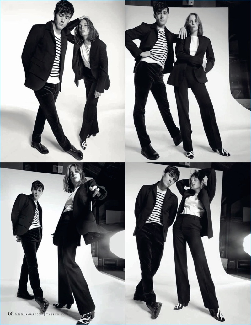 Little Women actors Jonah Hauer-King and Maya Hawke star in a photo shoot for Tatler UK. Hauer-King wears a Dsquared2 blazer with an Arket sweater. He also dons velvet trousers from Berluti with Ralph Lauren boots.