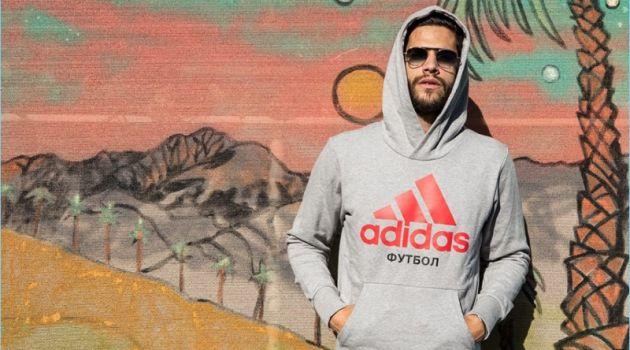 Going casual, Landon Falgoust sports a Gosha Rubchinskiy x Adidas hoodie.