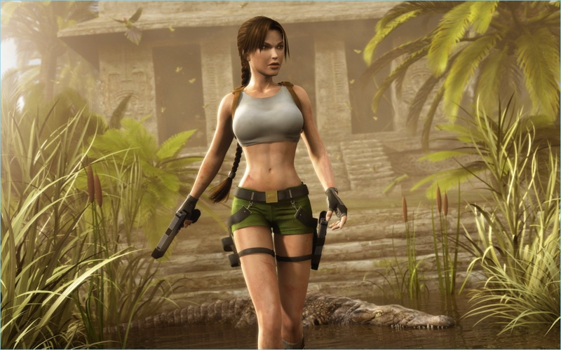 Lara Croft in her famous Tomb Raider shorts.
