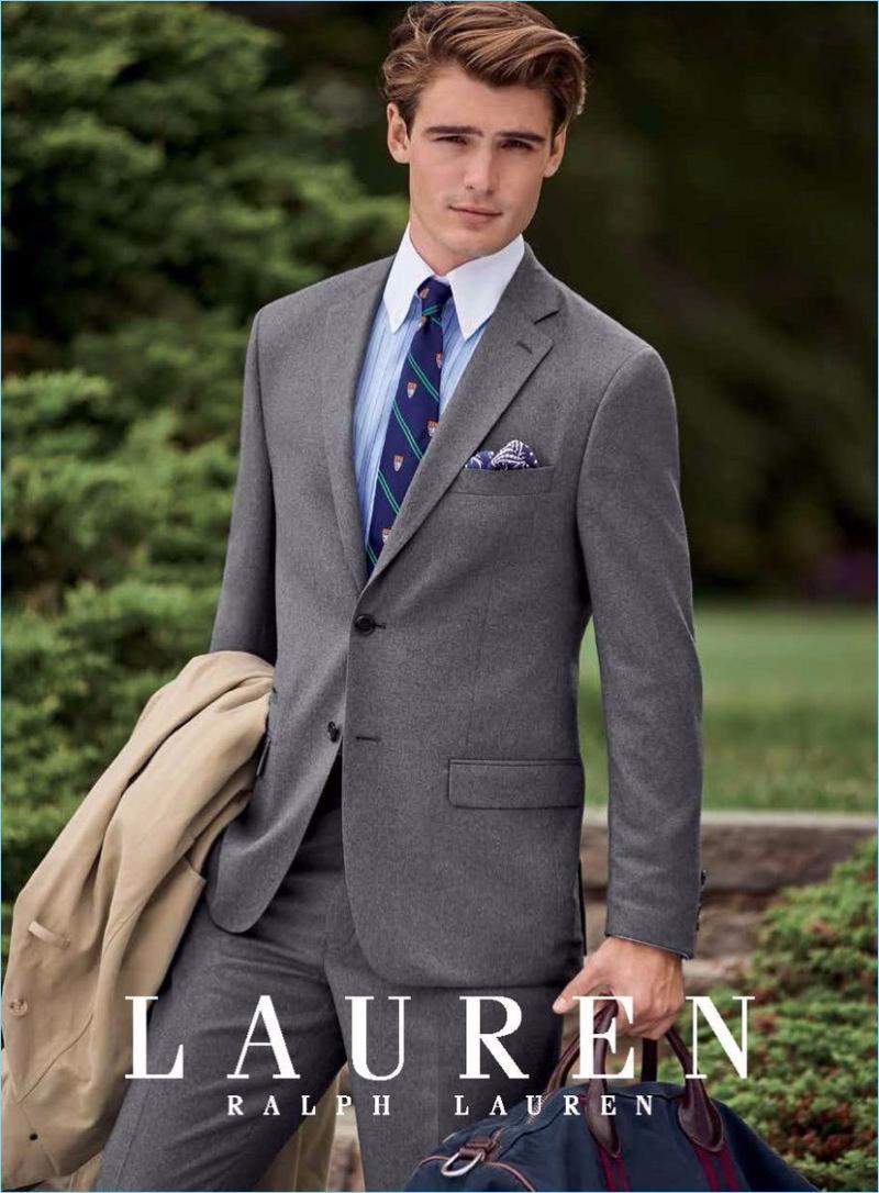 Suiting up in grey, Garrett Taber connects with Lauren by Ralph Lauren.