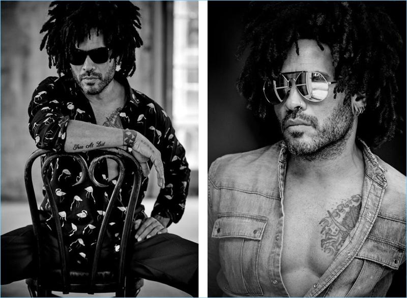 Left: Lenny Kravitz wears Saint Laurent sunglasses and a flamingo print shirt with Valentino corduroy trousers. Right: Kravitz rocks a Balmain denim shirt with Saint Laurent aviator sunglasses.