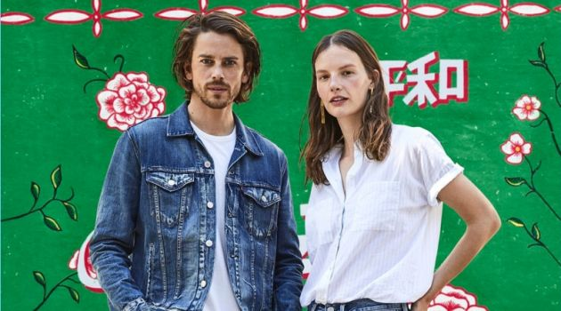 Models Jeremy Young and Sara Blomqvist front Levi's holiday 2017 outing.