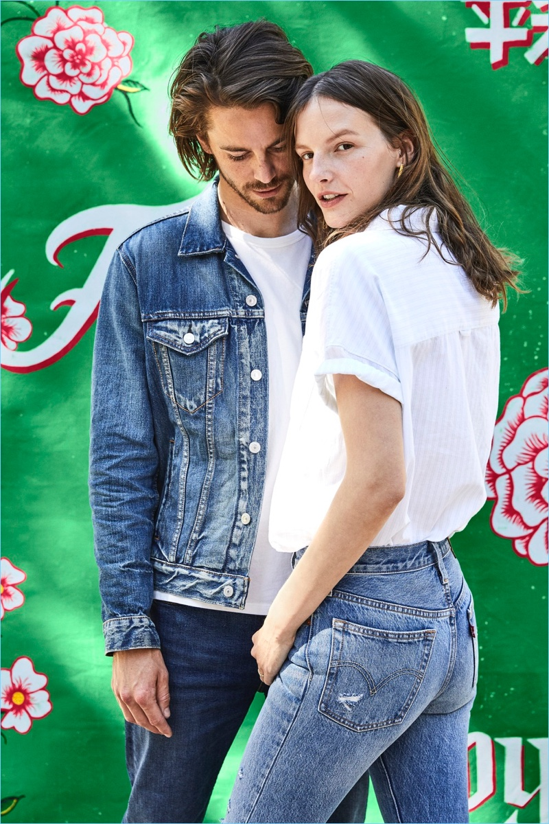 English model Jeremy Young pictured with his wife Sara Blomqvist for Levi's.