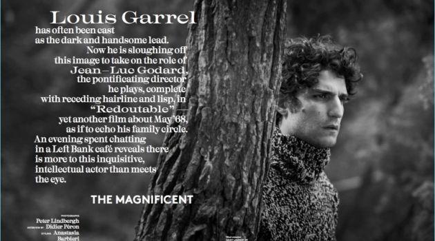 Louis Garrel wears a Saint Laurent sweater for Vogue Hommes Paris.