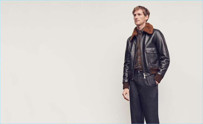 Bastiaan Ninaber wears a shearling bomber jacket by AMI with a Boglioli shirt and De Bonne Facture trousers.