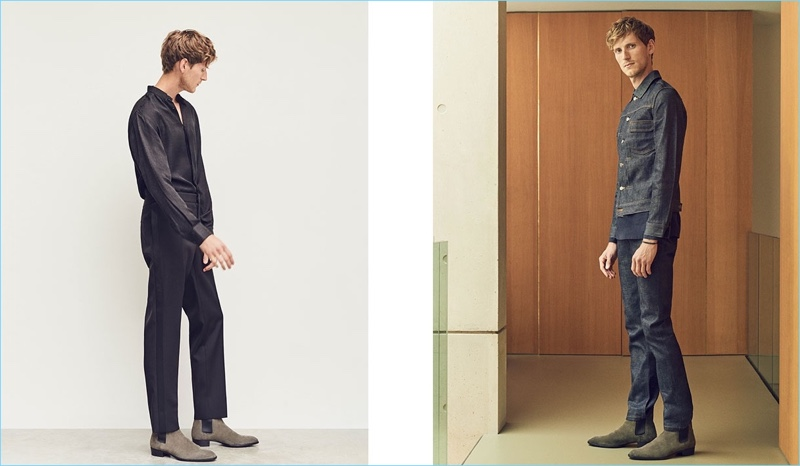 Left: Bastiaan Ninaber wears a shirt, tuxedo trousers, and Chelsea boots by Saint Laurent. Right: Bastiaan models a denim jacket and jeans by A.P.C. with a Lemaire shirt. He also rocks Saint Laurent boots.