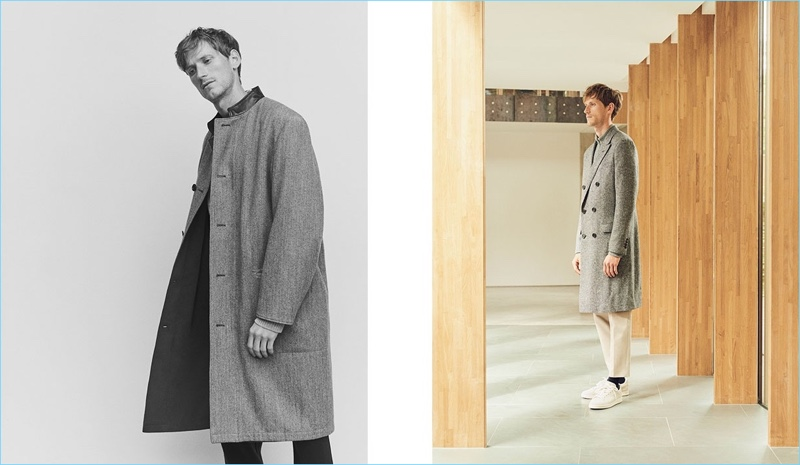 Left: Bastiaan Ninaber sports a Lemaire coat with Boglioli trousers. Right: Bastiaan dons a Lanvin double-breasted coat with a Moncler sweater, De Bonne Facture trousers, and Adidas Originals Stan Smith sneakers.