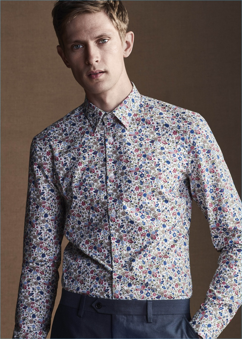 Danish model Mathias Lauridsen wears a print dress shirt from Next.