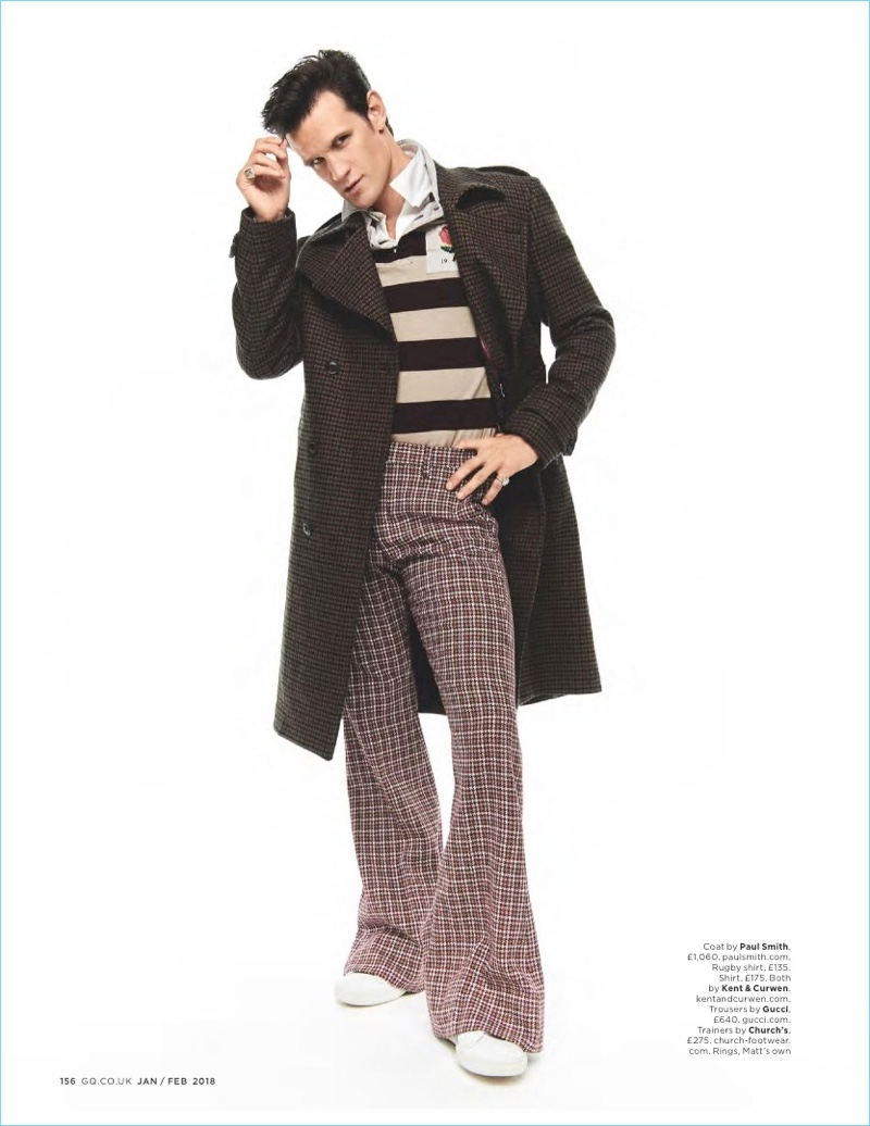 Embracing retro-inspired style, Matt Smith wears a Paul Smith coat with a rugby shirt by Kent & Curwen. The English actor also sports Gucci trousers and Church's shoes.
