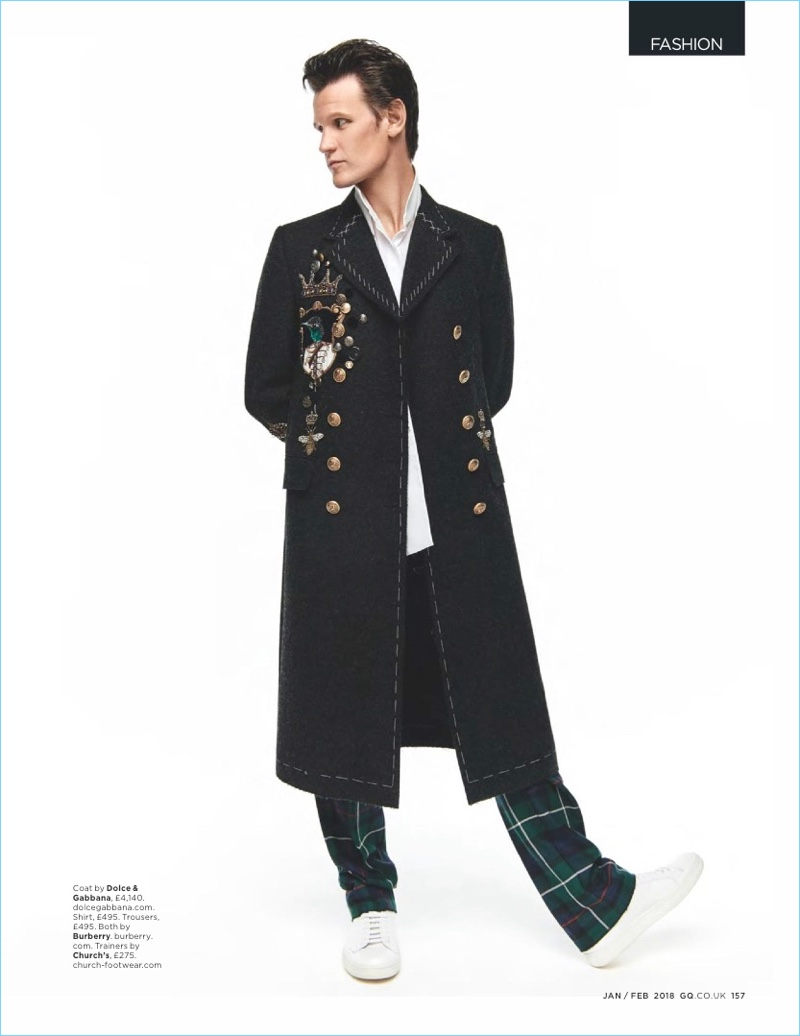 English actor Matt Smith wears a Dolce & Gabbana coat with a shirt and trousers by Burberry. Smith also rocks Church's sneakers.