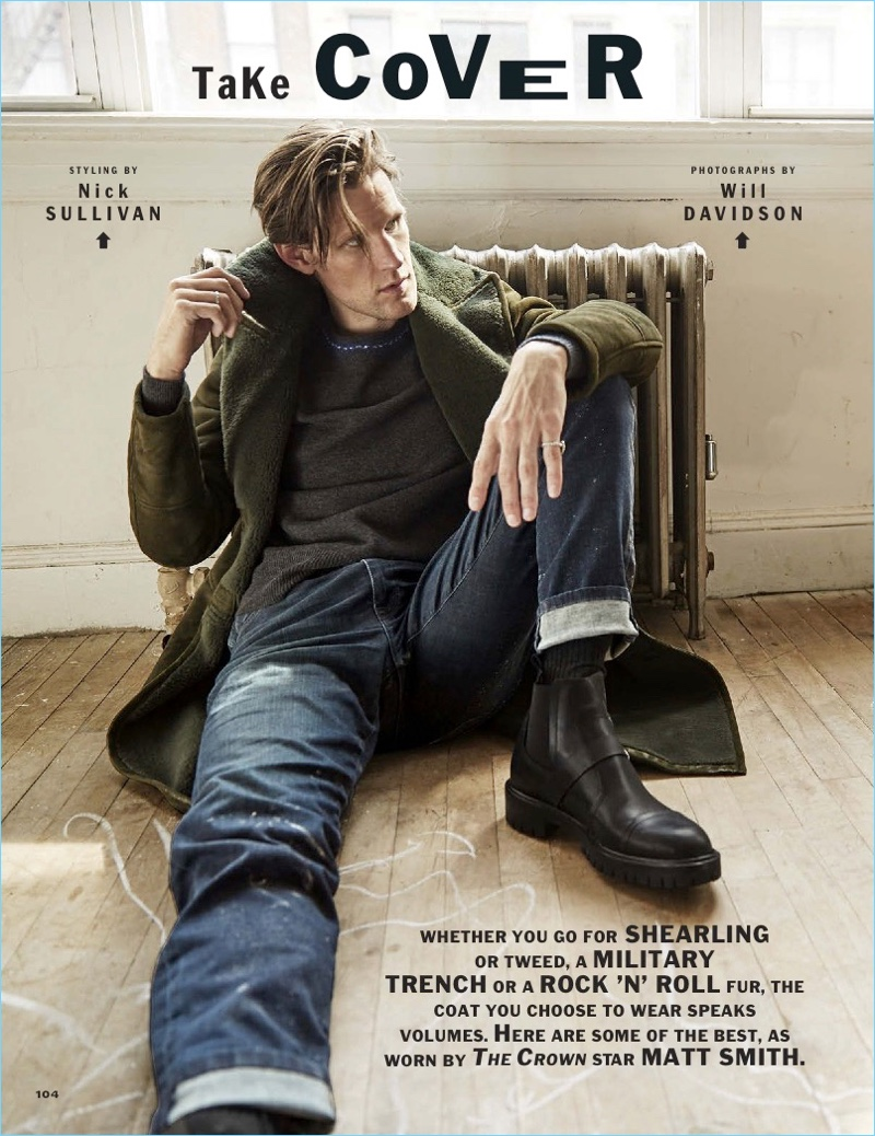 Matt Smith stars in an Esquire photo shoot. He wears a coat and sweater by Bottega Veneta. Smith also sports Joe's Jeans and Hermès boots.