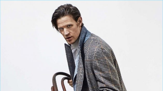 Actor Matt Smith dons a coat, jacket, shirt, and trousers by Canali with O'Keeffe boots.