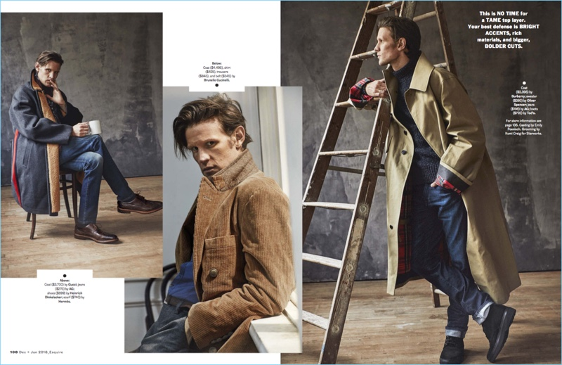 Left to Right: Matt Smith wears a Gucci coat with AG jeans, a Hermès scarf, and Heinrich Dinkelacker shoes. Smith sports a coat, shirt, trousers, and belt by Brunello Cucinelli. The English actor rocks a Burberry coat with an Oliver Spencer sweater, AG jeans, and Tod's boots.