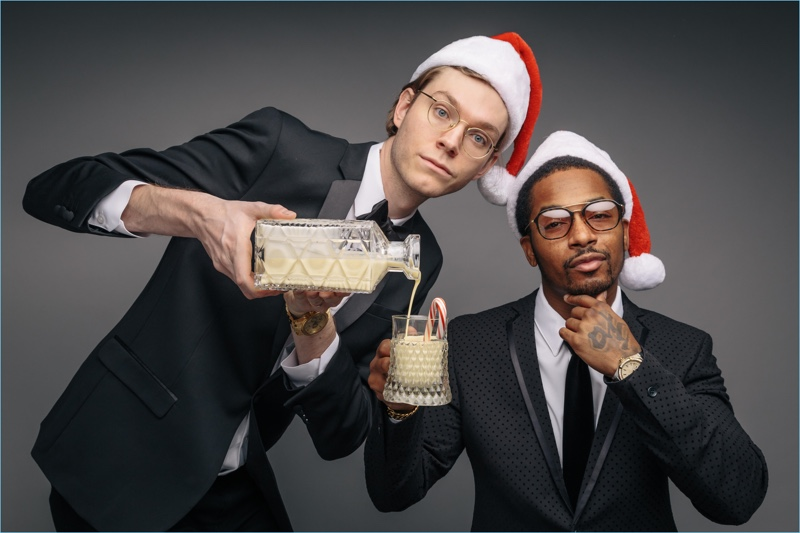 Richard Ross and Chingy pose for a holiday photo for Mizzen+Main.