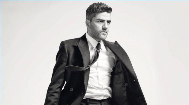 Striking quite the pose, Oscar Isaac wears a tailored look by Dolce & Gabbana.