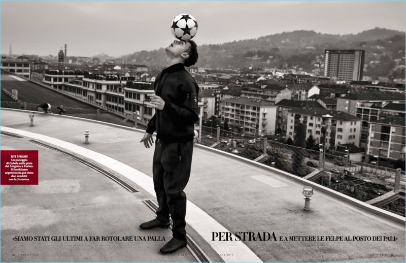Playing around on a rooftop, Paul Dybala stars in a new photo shoot.