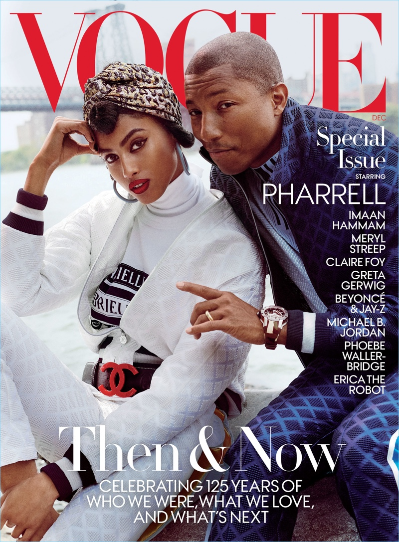 Imaan Hammam and Pharrell cover a special December issue of Vogue.