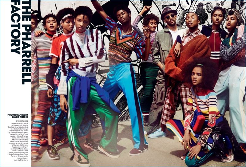 Mario Testino photographs Pharrell, JR, and models for the pages of Vogue.