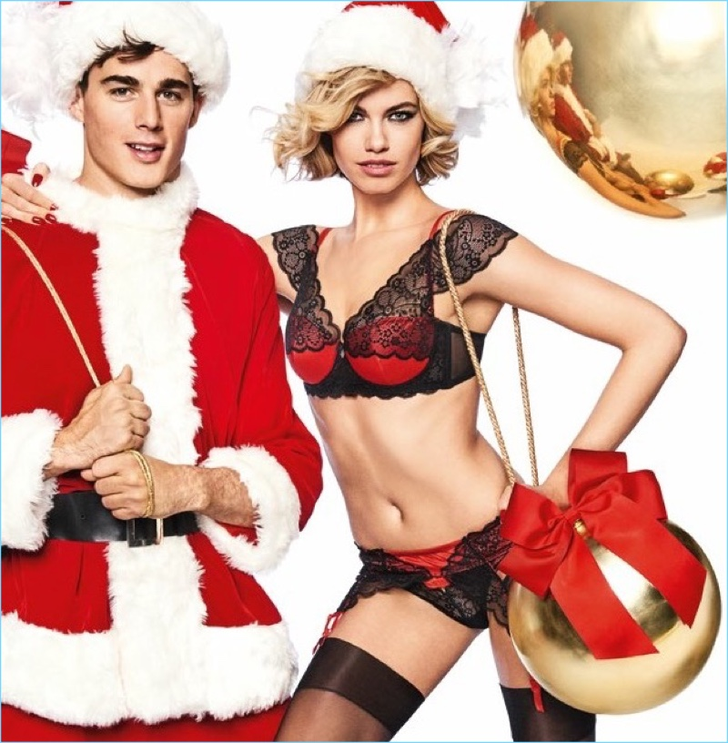 Models Pietro Boselli and Hailey Clauson celebrate the holiday season with Yamamay.