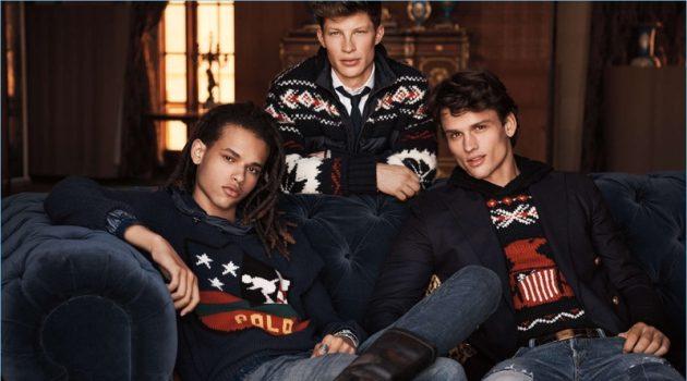 Models Don Lee, Jordan Paris, and Simon Nessman front Ralph Lauren's holiday 2017 campaign.