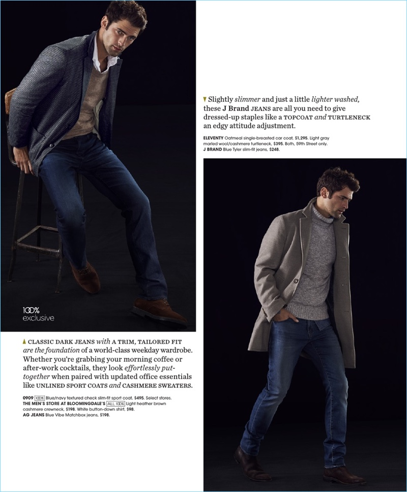 Left: Playing it smart, Sean O'Pry wears a 0909 sport coat with a sweater and shirt by The Men's Store at Bloomingdale's. He also dons AG Jeans denim. Right: Sean O'Pry models an Eleventy coat and turtleneck with J Brand jeans.