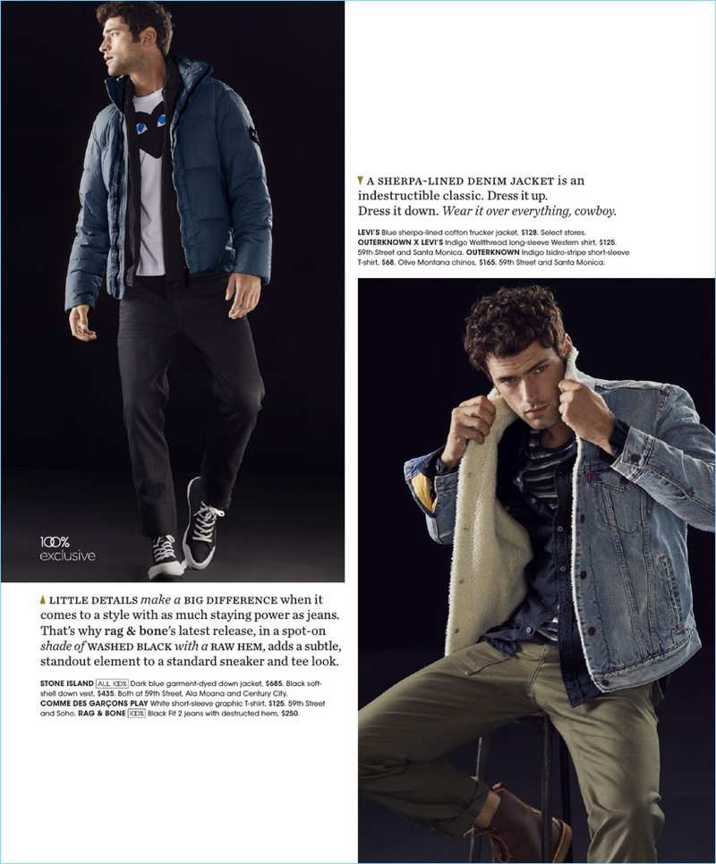 Left: Sean O'Pry wears a Stone Island down jacket with a Comme des Garçons PLAY t-shirt, and Rag & Bone jeans. Right: The American model sports a Levi's denim trucker jacket, Outerknown x Levi's western shirt, and Outerknown striped t-shirt.