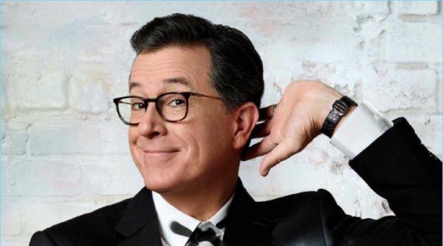 Hamming it up for the camera, Stephen Colbert wears a tuxedo by Ralph Lauren.