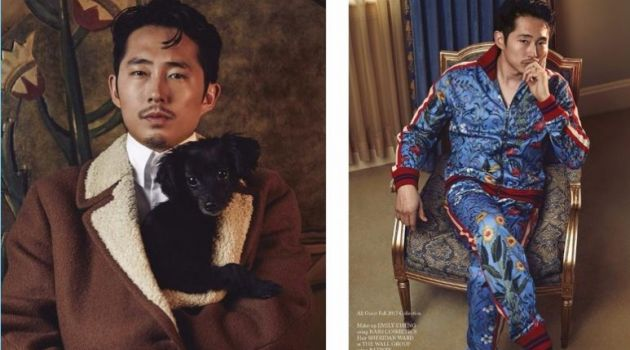 Clad in Gucci, Steven Yeun stars in a photo shoot for Glass Men.