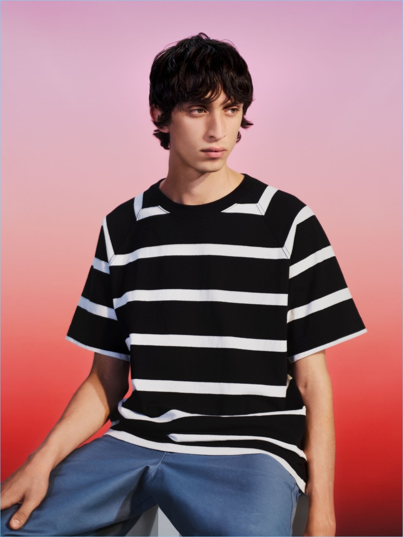 Uniqlo U goes boxy for spring with a black and white striped t-shirt.