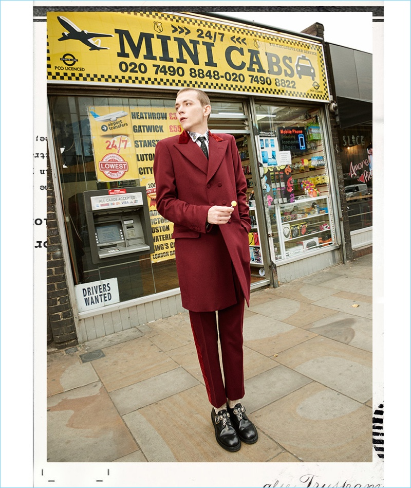 Making a bold statement, Yuri Pleskun wears a look by Alexander McQueen.