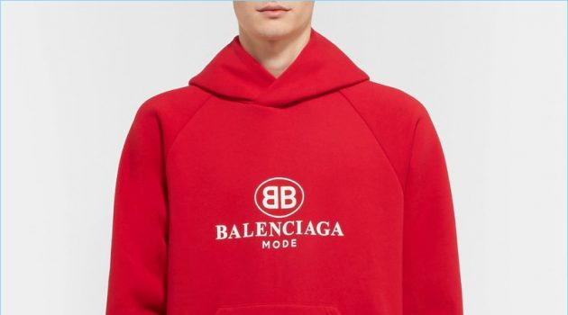 Balenciaga Oversized Printed Fleece-Back Cotton-Blend Jersey Hoodie
