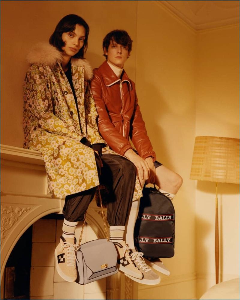 Models Charlee Fraser   and Marc-André Turgeon star in Bally's spring-summer 2018 campaign.