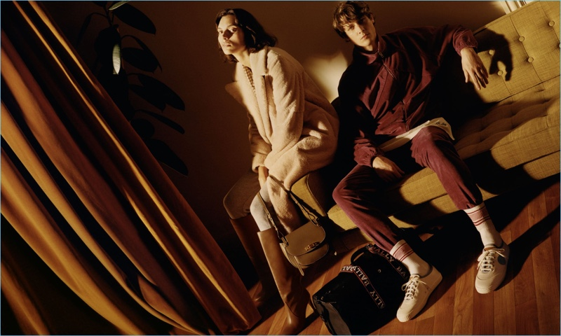 Bally enlists models Charlee Fraser   and Marc-André Turgeon as the stars of its spring-summer 2018 campaign.