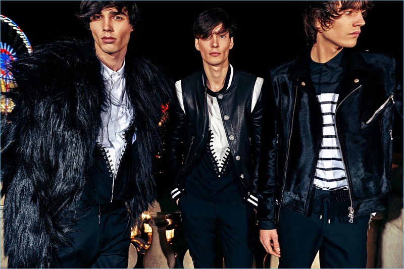 Going glam, Balmain delivers black fur and leather for its pre-fall 2018 men's collection.