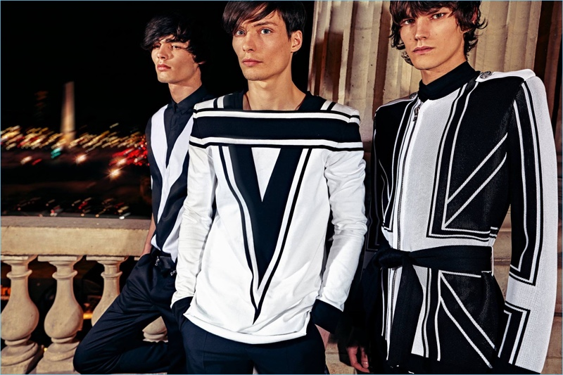 French fashion house Balmain makes a black and white statement for its pre-fall 2018 collection.