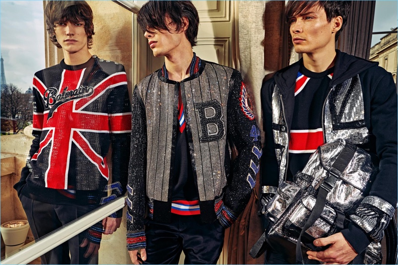 The baseball jacket receives a glam update for Balmain's pre-fall 2018 men's collection.