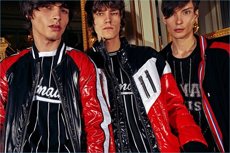 Sporty style reigns with color blocked looks from Balmain's pre-fall 2018 men's collection.