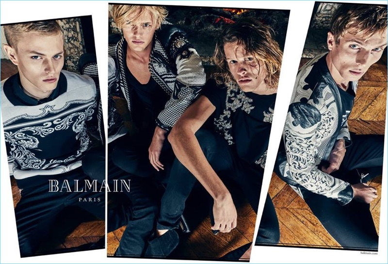 Models Davy Swart, Emil Wikstrom, Ariel Rosa, and Maxime Findeling front Balmain's spring-summer 2018 campaign.