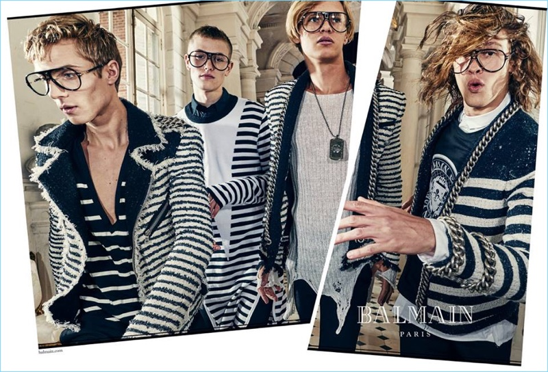 Maxime Findeling, Davy Swart, Emil Wiktrom, and Ariel Rosa star in Balmain's spring-summer 2018 campaign.