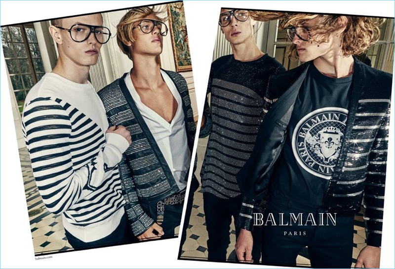 Davy Swart, Emil Wikstrom, Maxime Findeling, and Ariel Rosa star in Balmain's spring-summer 2018 campaign.