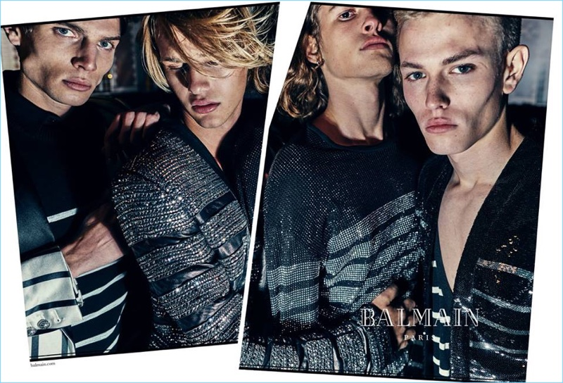 Balmain enlists Maxime Findeling, Emil Wikstrom, Ariel Rosa, and Davy Swart to star in its spring-summer 2018 campaign.