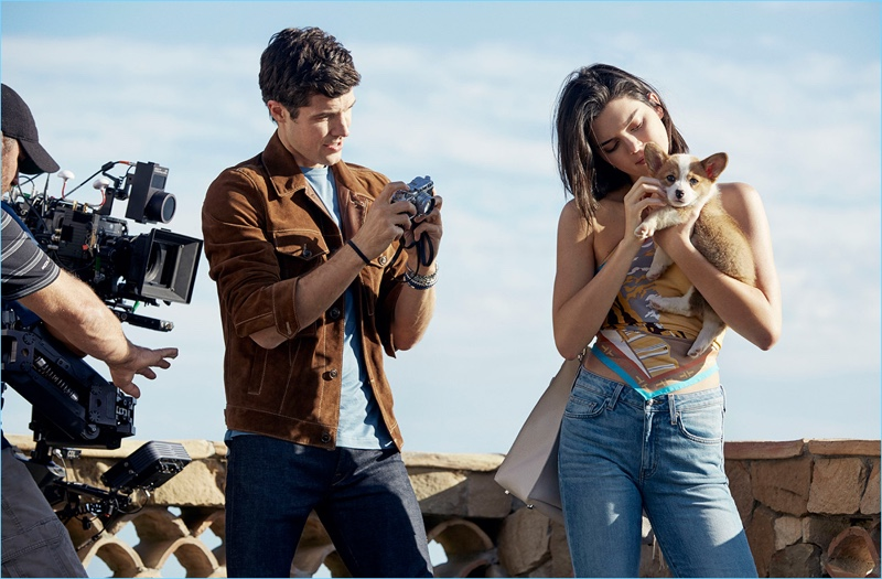 Captured behind the scenes, Roberto Bolle and Kendall Jenner come together.