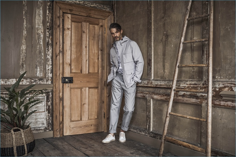 Making a case for monochromatic outfits, Ben Hill wears a pale grey look.