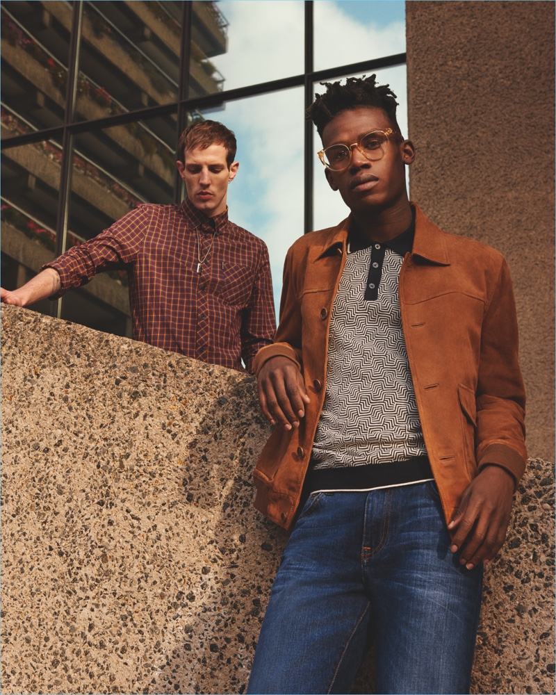 Ola Adeyemi and Aaron Vernon appear in Ben Sherman's spring-summer 2018 campaign.