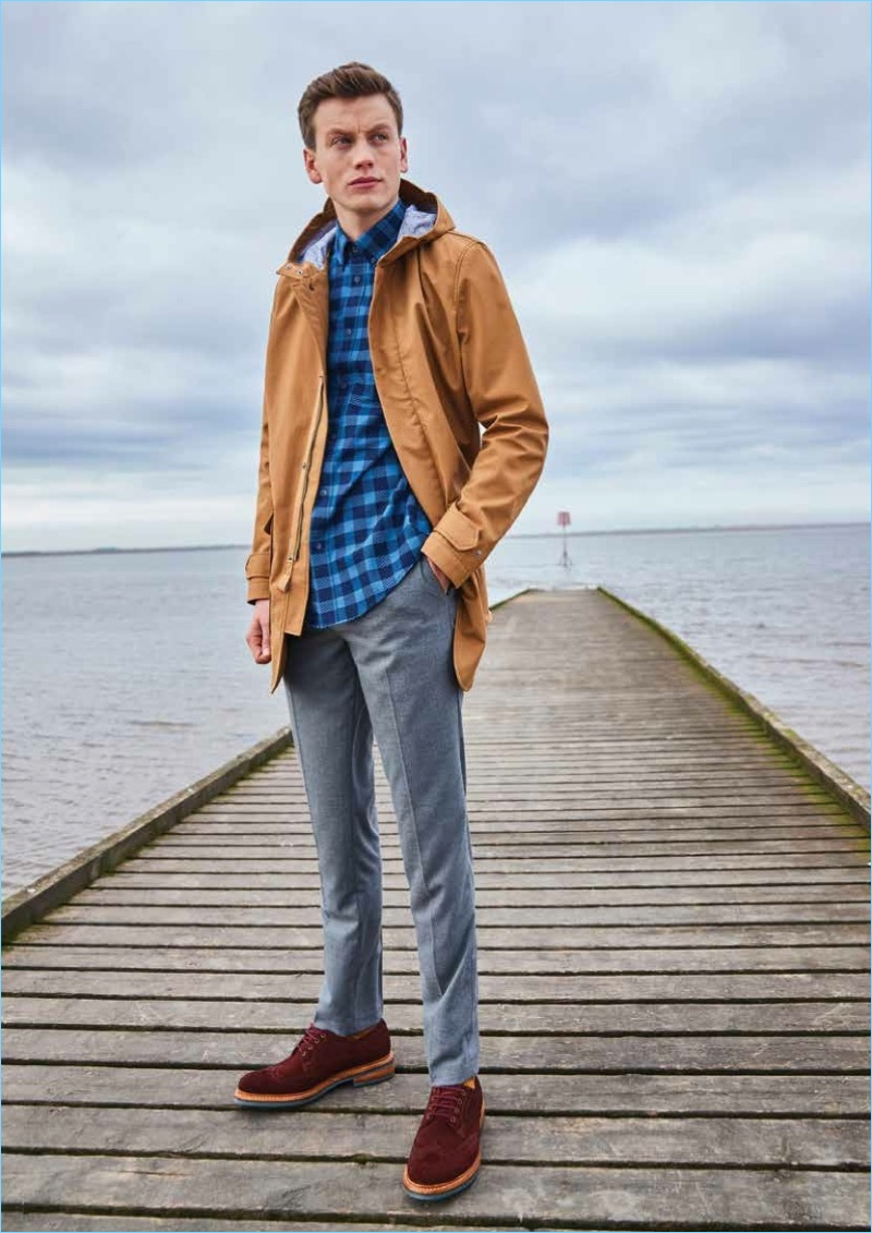 Sporting casual staples, Sid Ellisdon connects with Ben Sherman.