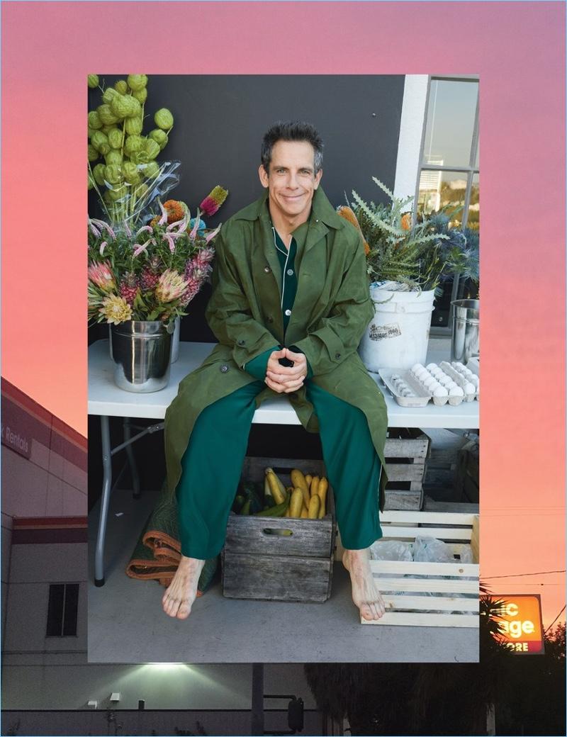 Ben Stiller wears a Gucci coat with Olatz pajamas.