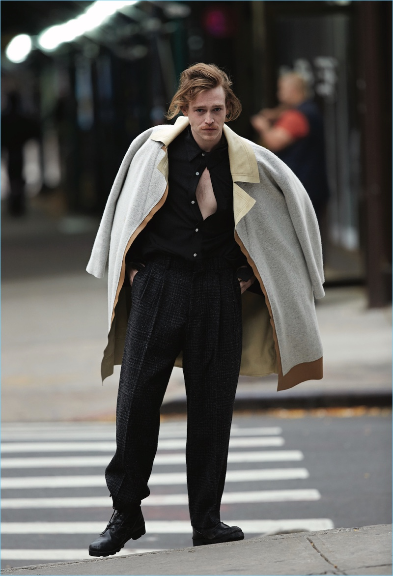 Connecting with Un-Titled Project, Caleb Landry Jones wears clothing by N. Hoolywood with his own boots.