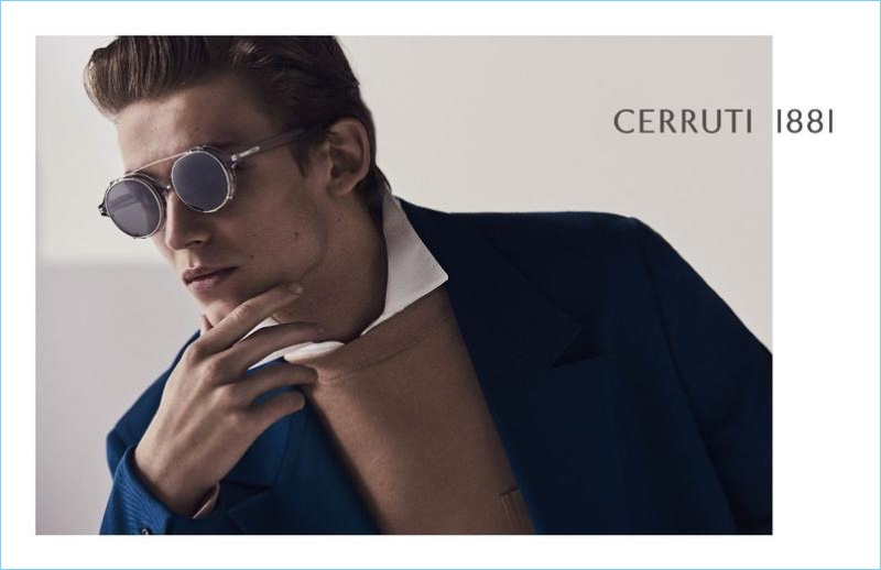 Christopher Einla dons sunglasses for Cerruti 1881's spring-summer 2018 campaign.