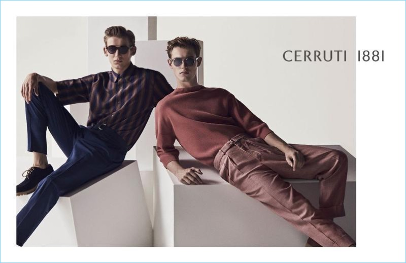 Christopher Einla and Kit Butler star in Cerruti 1881's spring-summer 2018 campaign.
